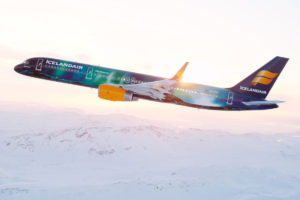 Hekla northern lights Icelandair airplane