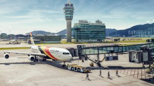 Airbus A340 Air Belgium in Hong Kong